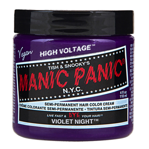 Tub of Manic Panic Violet hair dye : Dyeing your hair at home