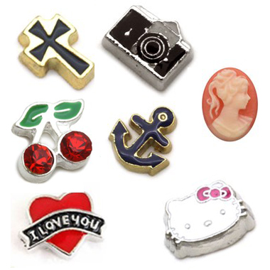 selection of floating charms
